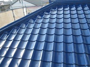 水戸市セメント瓦屋根塗装完成