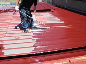 屋根の塗装風景